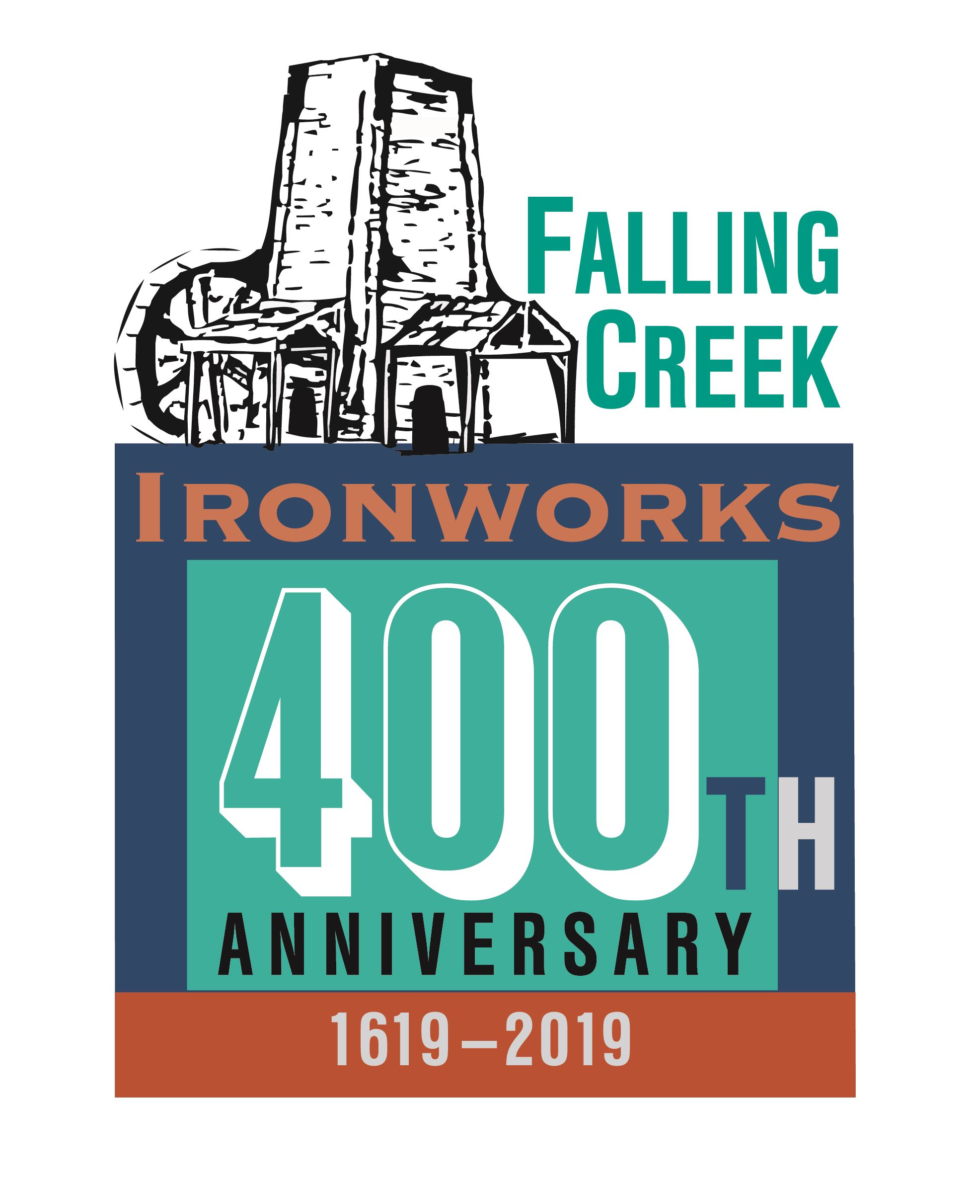 Line drawing of first iron furnace as part of logo for Falling Creek Ironworks 400th Anniversary